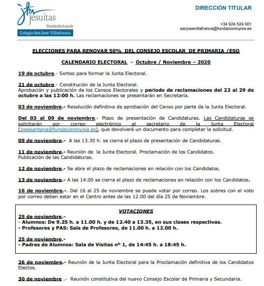 Calendario Consej Escolar CSJV